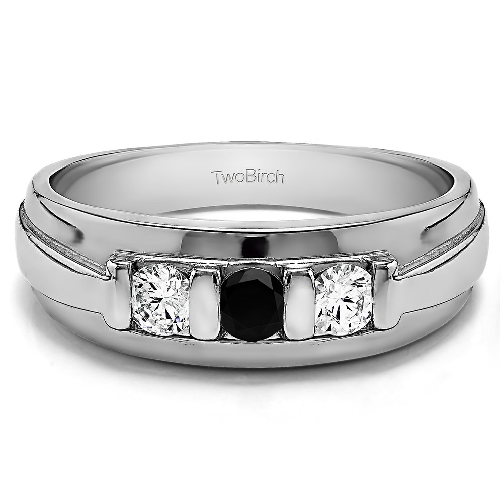 Size 3 to 15 in 1//4 Size Intervals Sterling Silver Gents Wedding Ring Black and White CZ 0.24Ct