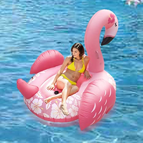Camas de aire e hinchables de flamenco gigante, andar en flotación flotante, anillo de natación, flotador de piscina con válvulas rápidas Decoraciones al aire libre de verano para adultos y niños: Amazon.es: