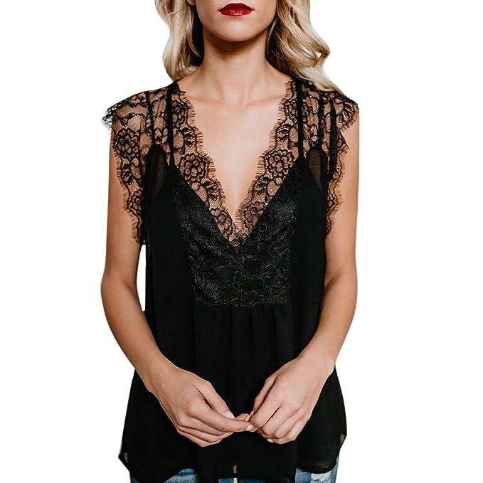 Damark(TM) Ropa Camisetas Mujer, Camisas Mujer Verano Elegantes Encaje Casual Tallas Grandes Camisetas Mujer Manga Corta Camiseta Blusas Tops para Mujer ...