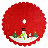 Christmas Holiday Felt Tree Skirt – Step Back In Time With This Vintage 48 Inch Large Red White and Green Animated Snowman Scene – Fits Under Most Real Or Artificial Christmas Trees
