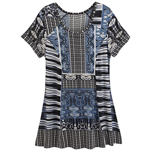 Parsley & Sage Women's Bold Short Sleeve Tunic Plus Size (2X, Multi Color)