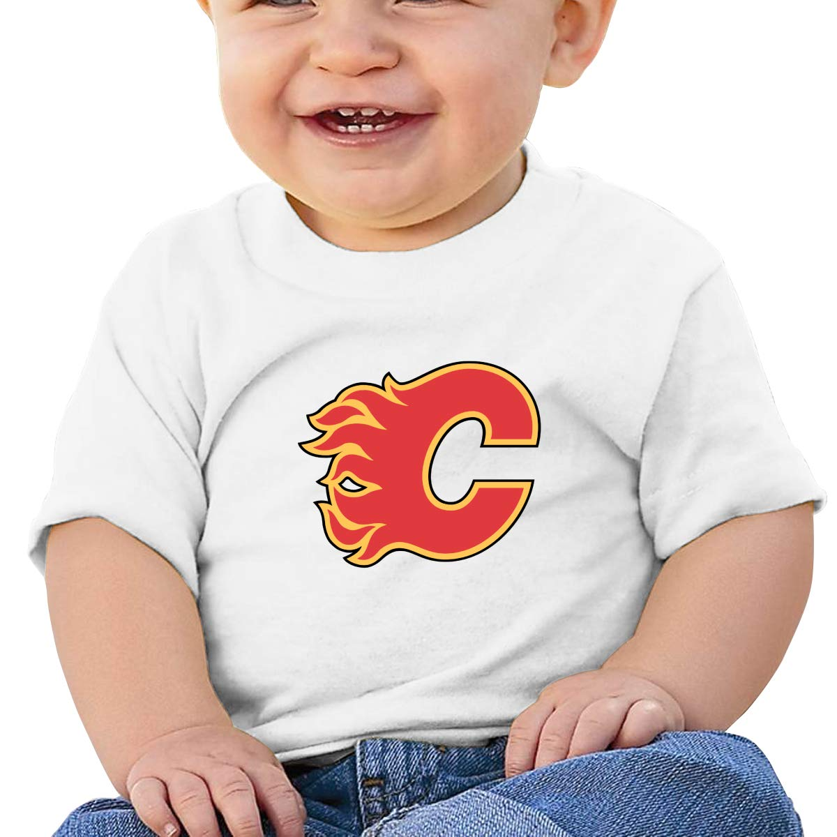 Wilhelm Unisex Baby Crewneck Calgary-Flames-Logo Short-Sleeve T-Shirts