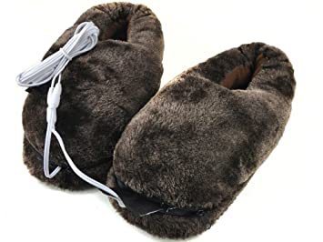 18188357cc6 Amazon.com   BIAL SG Comfortable Plush USB Electric Heating Slippers Shoes  to Keep Feet Warm (Deep Coffee)   Beauty