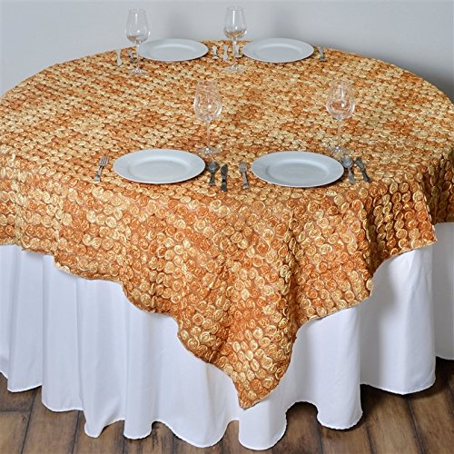 - 72 Inch X 72 Inch Triple-Tone Mini-Rosettes Table Overlays - Gold Umbre