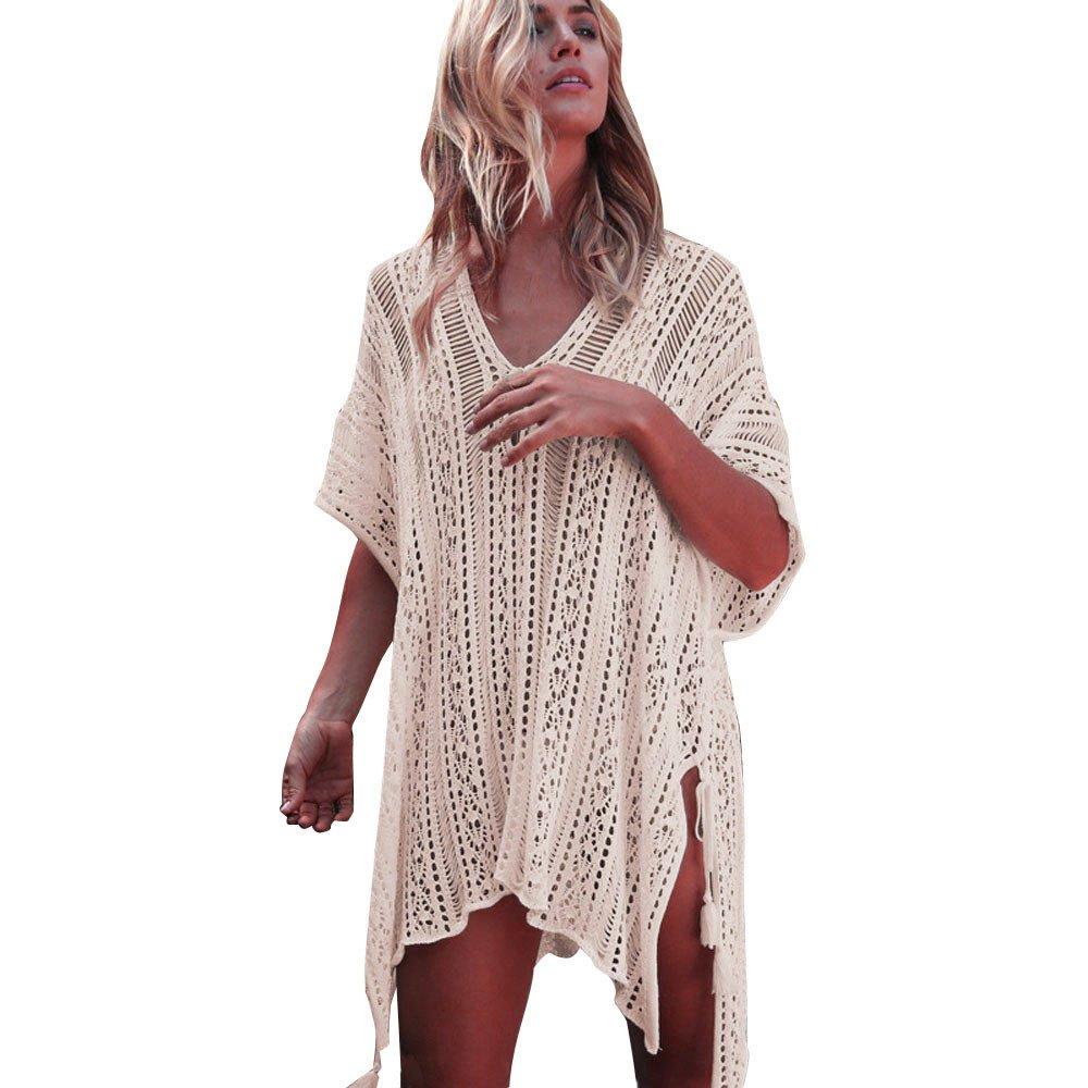 WUAI Summer Womens Bathing Suit Cover Up Beach Bikini Tassel Crochet Dress(Beige,Free Size)