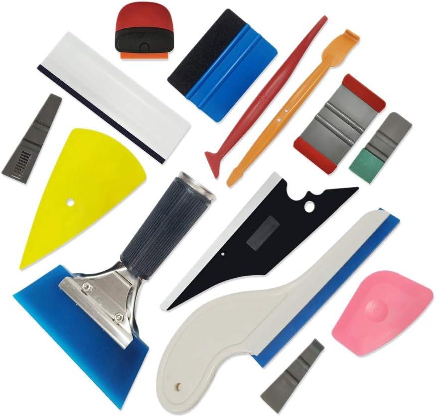 Huante 14Pcs Car Window Tint Tool Kit Carbon Fiber Vinyl Film Sticker Car Wrap Tool Tinting Magnetic Squeegee Razor Scraper
