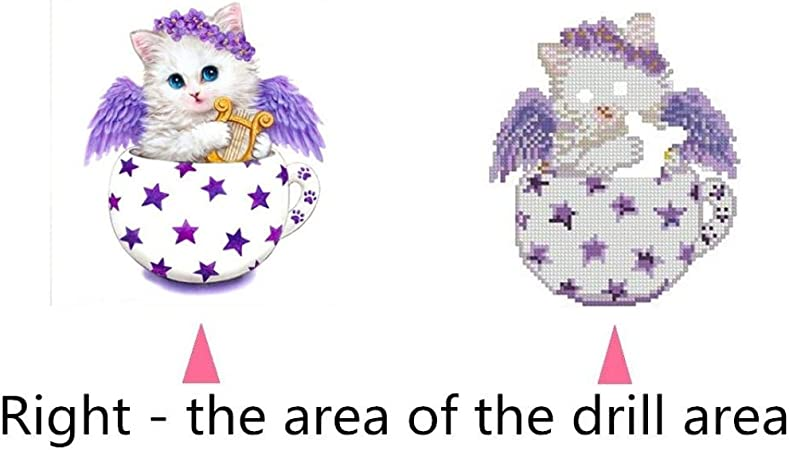 Cup Kitten Rhinestone Embroidery Painting Crystals Pasted Handcraft Cross Stitch Handiwork Kits Visual Arts for Home Decor vmree DIY 5D Diamond Picture