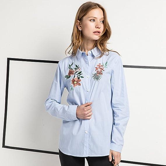 YAANCUN Mujer Flores Bordadas Manga Larga Blusa A Rayas Camisa De Otoño: Amazon.es: Ropa y accesorios