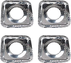 Tvoip 60Pcs Aluminum Foil Square Gas Stove Burner Covers, Disposable Thicker Bib Liners Covers for Gas Top