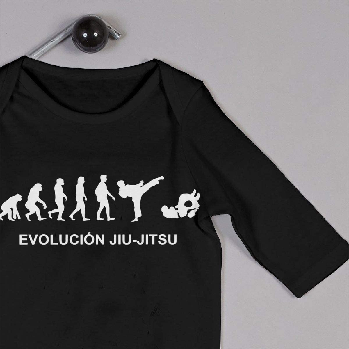 YELTY6F Evolution JIU-Jitsu Printed Newborn Infant Baby Boy Girl One-Piece Suit Long Sleeve Pajamas Black