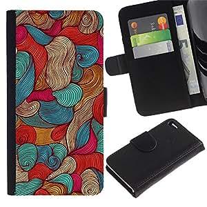 A-type (Sea Vignette Ink Pen Art Wallpaper) Colorida Impresión Funda Cuero Monedero Caja Bolsa Cubierta Caja Piel Card Slots Para Apple Apple iPhone 4 / iPhone 4S