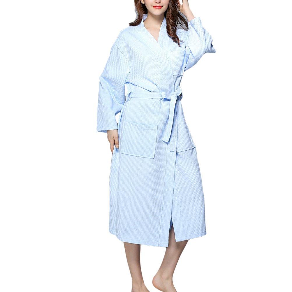 Zhuhaitf Women Soft Cotton Waffle Bathrobe Light Weight Dressing Gown Housecoat