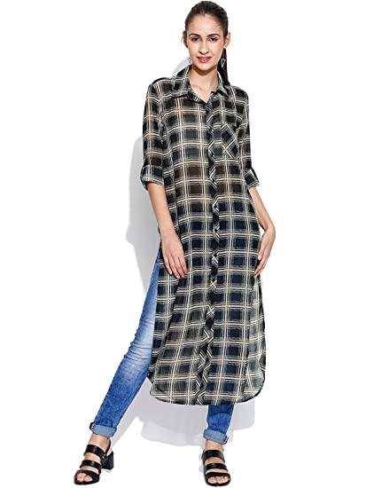 2745b720892 ENVY ME LONG CHECK SHIRT TUNIC  Amazon.in  Clothing   Accessories