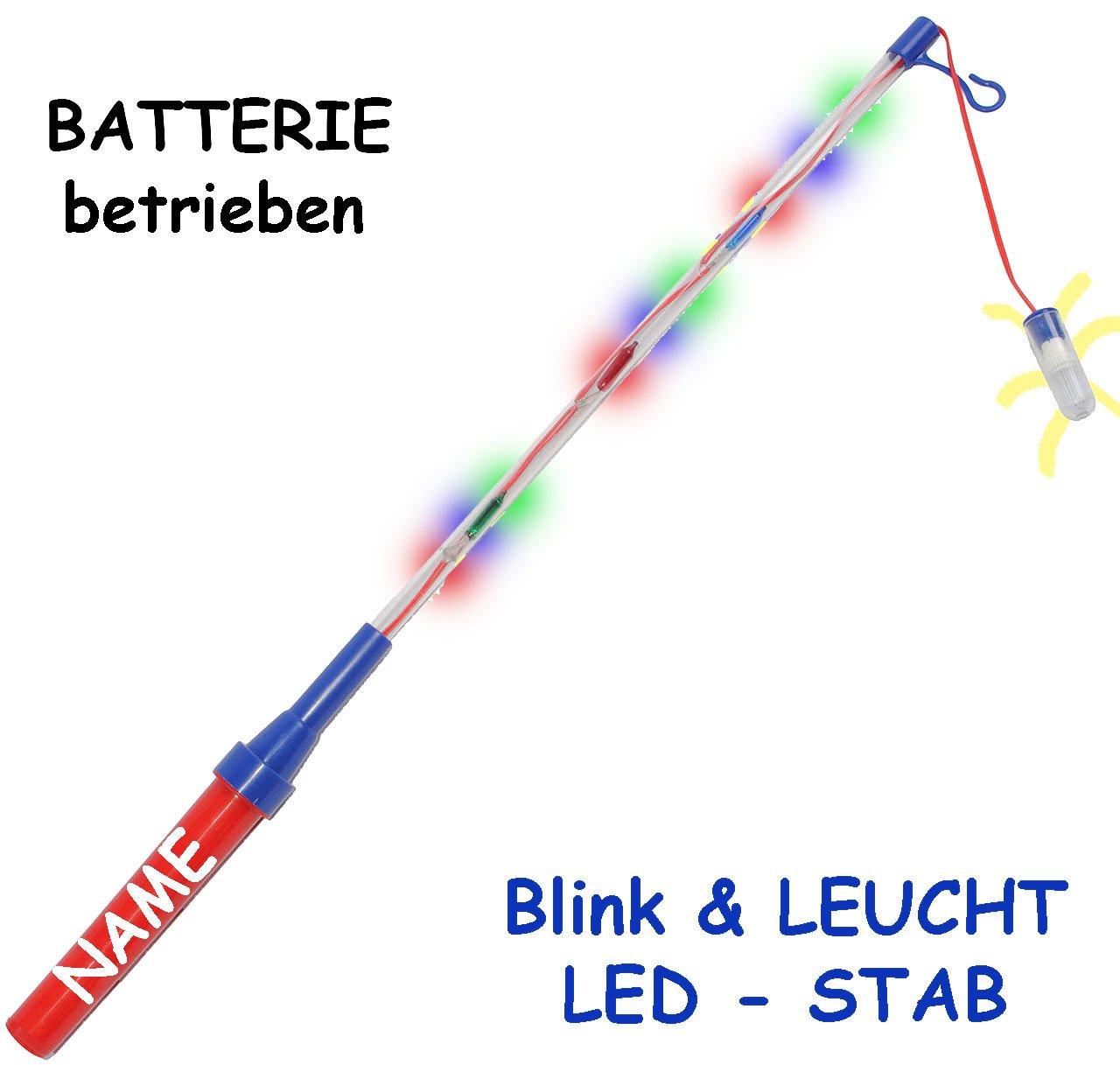 1 Stück _ Laternenstab - incl. Name - LED - elektrisch BLINKENDER Stab - incl. Name - Batterie betrieben - z. B. für Laternen & Lampions - 51 cm - bunte Farben - HELL - Teleskop blinkend - elektrischer - aus Kunststoff - Laternenumzug - Mädchen Jungen