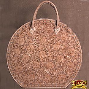 HILASON U Genuine Leather Hand Tooled Rope Bag