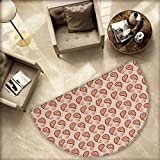 """Paisley Semicircular Cushion Contemporary Illustration of Persian Style Paisley and Patterns Print Entry Door Mat H 66.9"""" xD 100.4"""" Pale Peach Pale Orange"""
