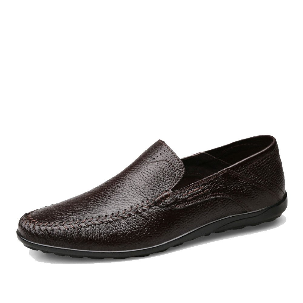 Hombres Estaciones Casual Moda Transpirable Papá Conducir Zapatos De Cuero 42 EU|Brown