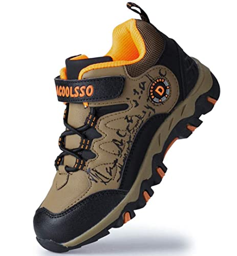 a5407d464e0 DADAWEN Kids Waterproof Outdoor Hiking Athletic Sneakers Running Shoes