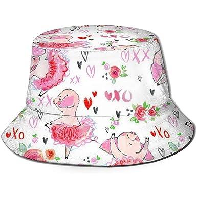 Divertido Pink Pig Unisex Bucket Hat Reversible Fisherman Hat ...