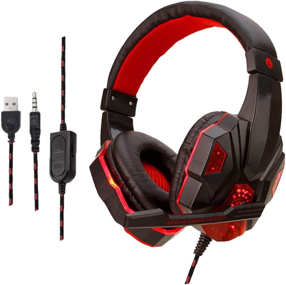#N/A Wired LED Dual Plug Stereo Over-ear Gaming Headphone W/Mic For XBOX PC - Black Red Black Red