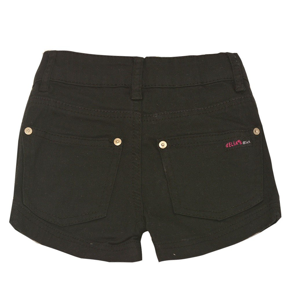 dELiAs girl Little Girls Black Rivet Back Pockets Lace-up Metal Eyelet Side Shorts 4-6X