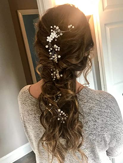 Handmade Bridal rose gold flower Hair Vine with crystal and ivory pearls 12 inch