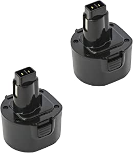 2 Pack Replacement Battery for DeWalt DW9062 Power Tool (1500mAh, 9.6V, NICD)