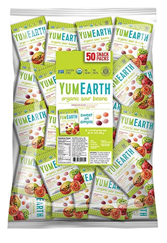 YumEarth Organic Sour Beans, 0.7 Ounce Snack Packs