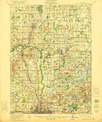 Manor Teaspoon - YellowMaps Rives Junction MI topo map, 1:62500 Scale, 15 X 15 Minute, Historical, 1921, 19.6 x 16.4 in - Tyvek
