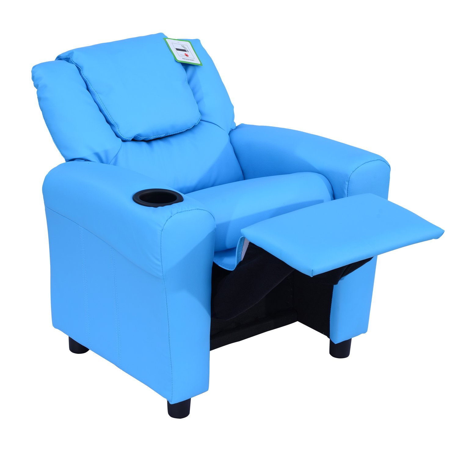 Homcom Kids Children Recliner Lounger Armchair Games Chair Sofa Seat PU  Leather Look W/Cup