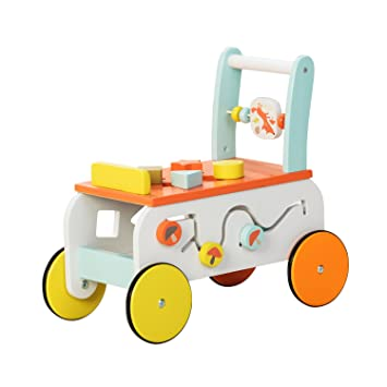 Labebe Baby Walker with Wheel, Orange Fox Printed Wooden Push Toy, 3-in