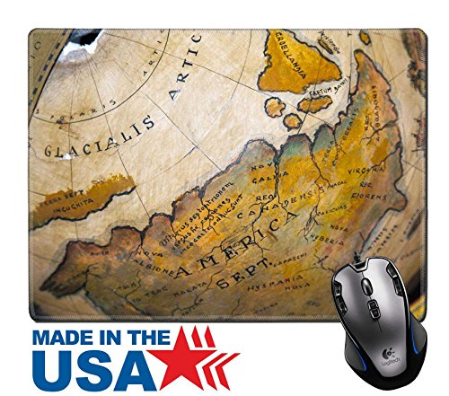 "MSD Natural Rubber Mouse Pad/Mat with Stitched Edges 9.8"" x 7.9"" A vintage wooden world map globe IMAGE 19549279"