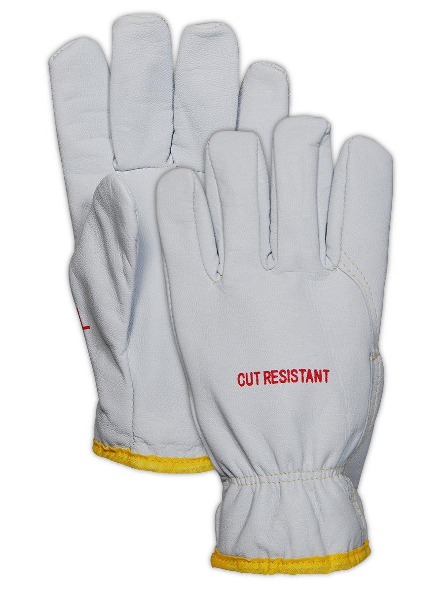 Magid Glove & Safety 2443DEXKS-XL Cut Master XKS 2443DEXKS Lined Goat Grain Leather Drivers Glove – ANSI Cut Level 4, ANSI Puncture 3, White, XL (12 Pairs)