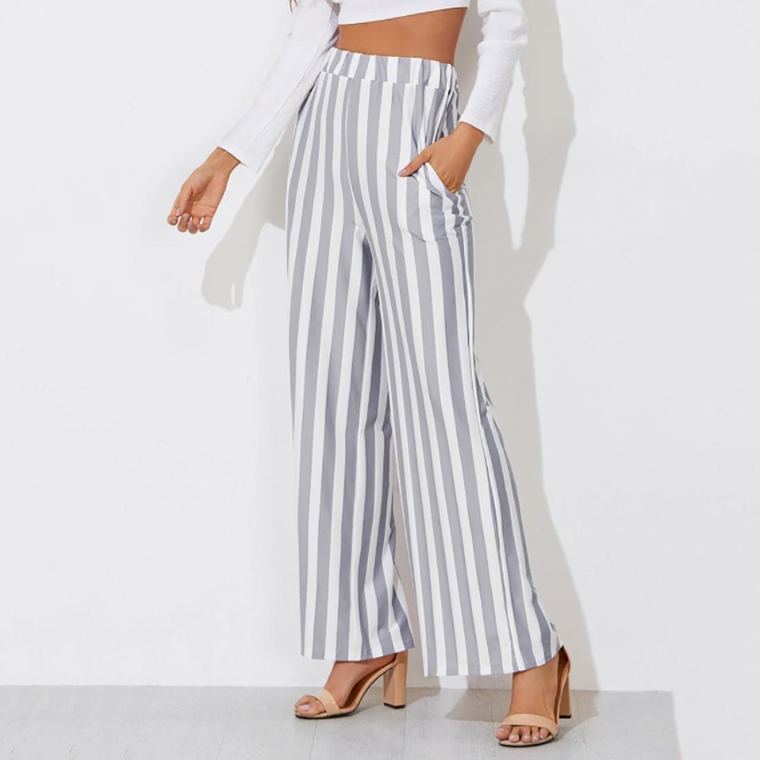d67a684511 DAYLIN Pantalones Anchos Mujer Casual Moda Pantalones a Rayas para Verano