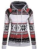 POGTMM Women's Casual Raglan Long Sleeve Bohemia Snowflake Print Pullover Hoodie Sweater (Petite M, Gray)