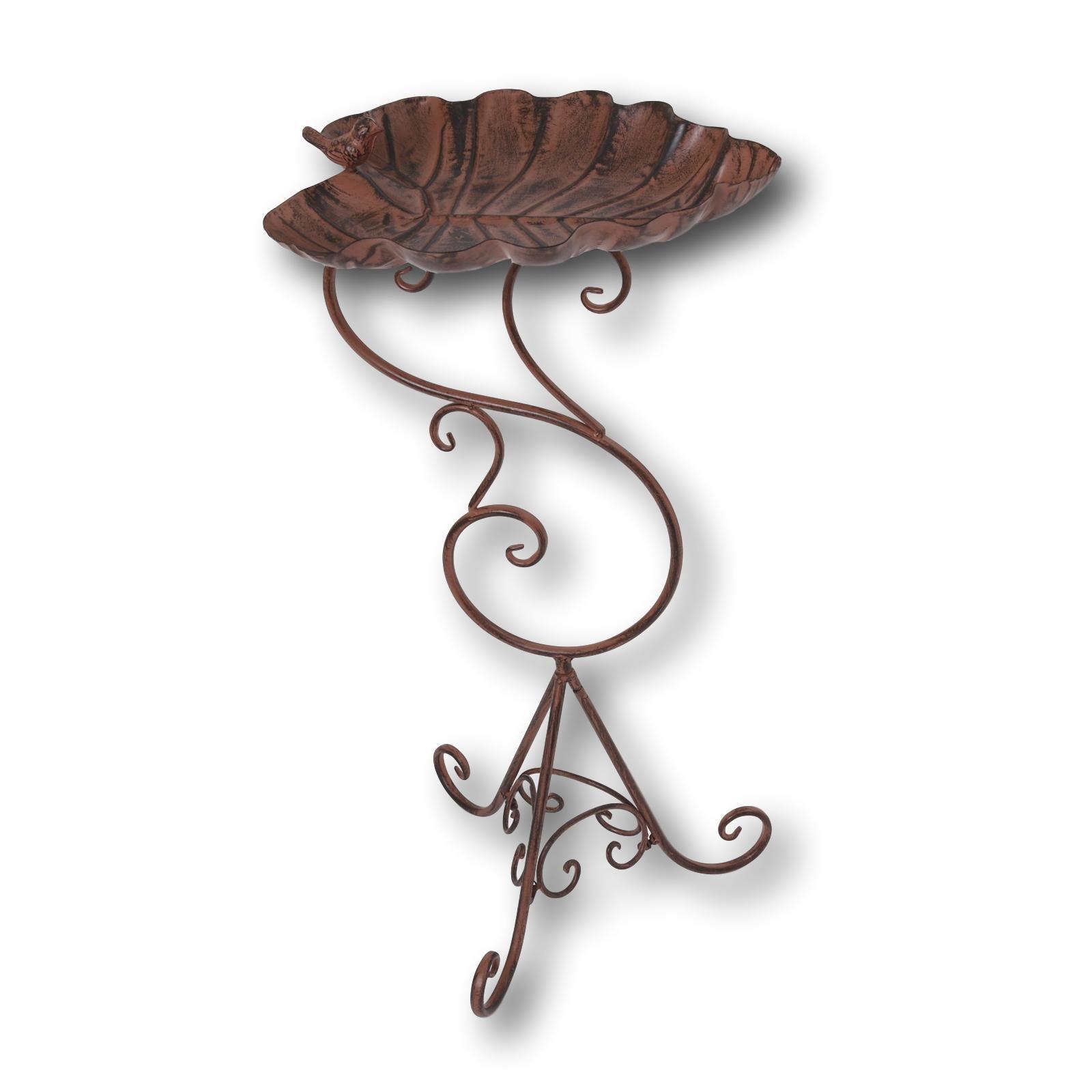 Gerson Premium Fancy Metal Birdbath with Antique Bronze Finish ~ Elegant Scrolled Stand (31'' Leaf Basin w Bird)