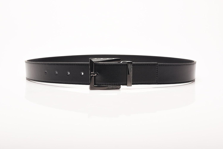 Versace Collection Mens Black Leather Silver Buckle Adjustable Belt 175