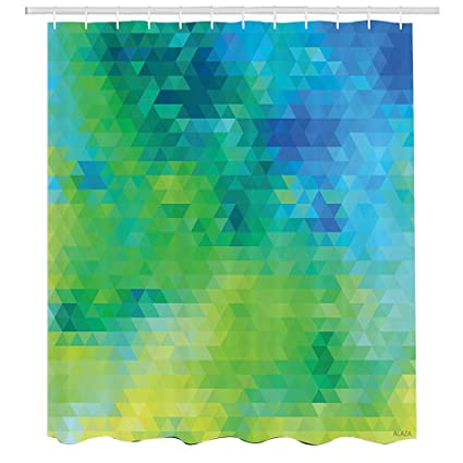 Green And Blue Shower CurtainGeometric Abstract Pattern With Triangles Ombre InspiredFabric Bathroom