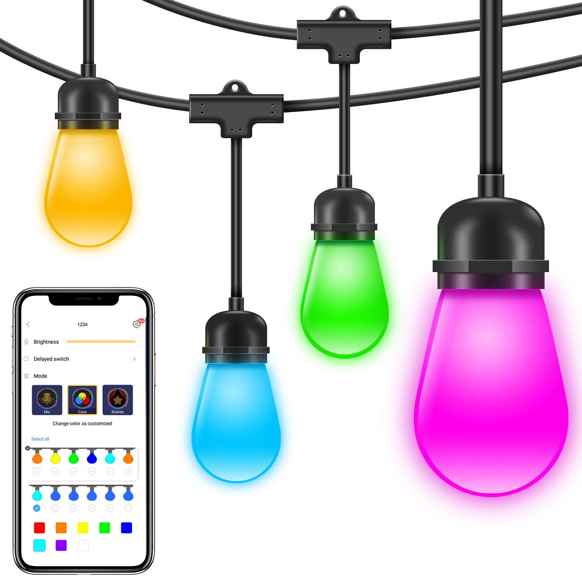 Govee Waterproof Led Outdoor String Lights, DreamColor Cafe Lights with APP (DIY, RGBW, Sync to Music), 36Ft 12 Bulbs Dimmable Color Changing Hanging Light for Patio Commercial Grade Party Holiday by Govee