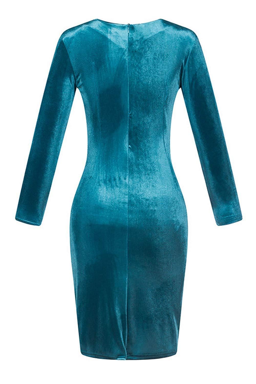 b5b69bff6f Oudan Vestidos Ajustados de Invierno para Mujer Vestidos Largos hasta la  Rodilla con Pliegues de Terciopelo (Color   Rojo