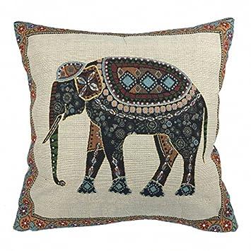 Luxbon Funda de Cojín Almohada Elefante Mascota de India Lino Duradero Decoración para Sofá Cama Coche 18x18 45x45 cm