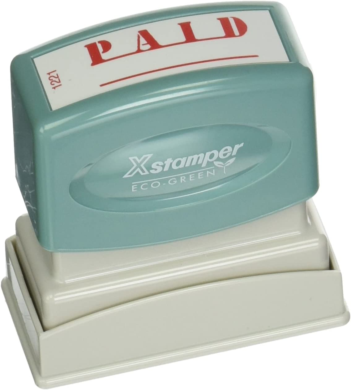 "Xstamper(R) One-Color Title Stamp, Pre-Inked, ""Paid"", Eco Greeen, Box 1 (XST1221)"