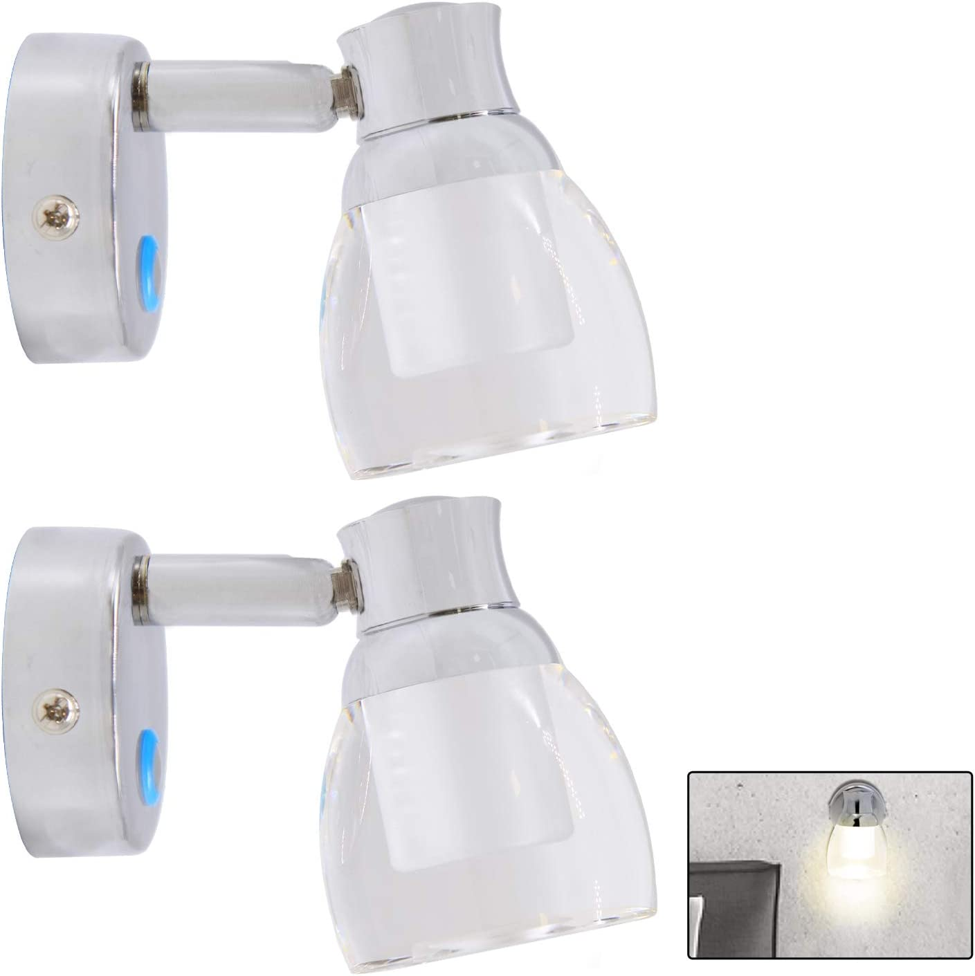 Facon 2-Pack LED RV Wall Sconce LED Decor Lamp Bedside Reading Light with Touch Switch and Blue Indicator Light, 12V DC Interior Light for RV Motorhome Camper Trailer Boat (3500K Warm White, Glass)