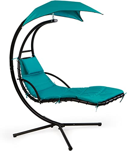 Barton Hanging Chaise Lounger Chair Arc Stand Porch Swing Hammock Chair