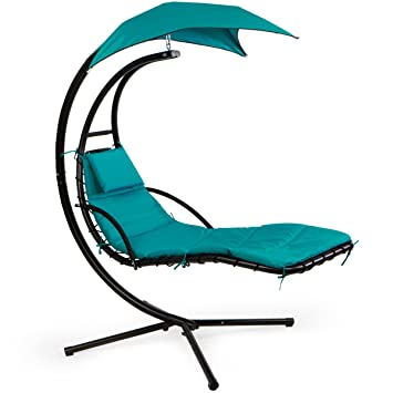 XtremepowerUS Floating Swing Chaise Lounge Chair Hammock Lounger   Blue. Amazon com   XtremepowerUS Floating Swing Chaise Lounge Chair