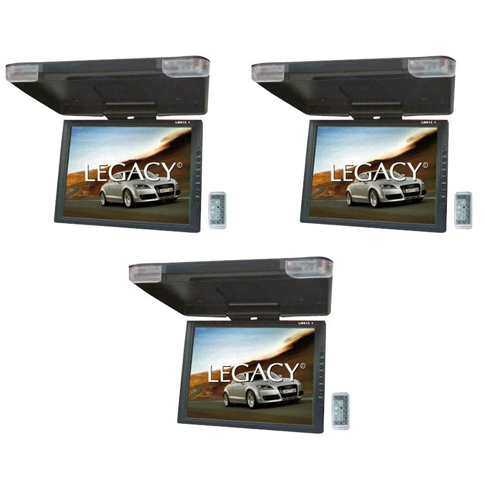 Legacy New LMR15.1 15'' LCD TFT Car/SUV/Truck Flip Down Roof Mount Monitor TV IR (3 Pack)