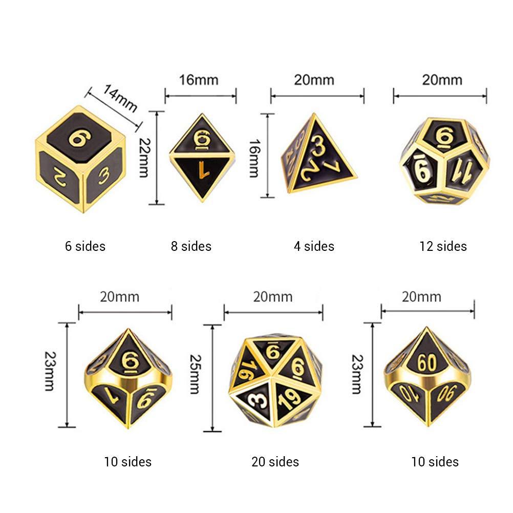 set di 7 dadi in metallo in lega di zinco set di dadi RPG set poliedrici per giochi di ruolo giochi da tavolo giochi da tavolo con dadi HELEVIA Set di dadi poliedrici