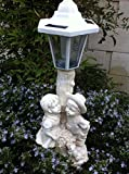 Outdoor Garden Decor Solar Fairy Angel/Cherub Statue Sculpture Light LED, yard decoration, solar angel lights outdoor, solar angel birdbath light 12'' (Girl & boy Cherup)