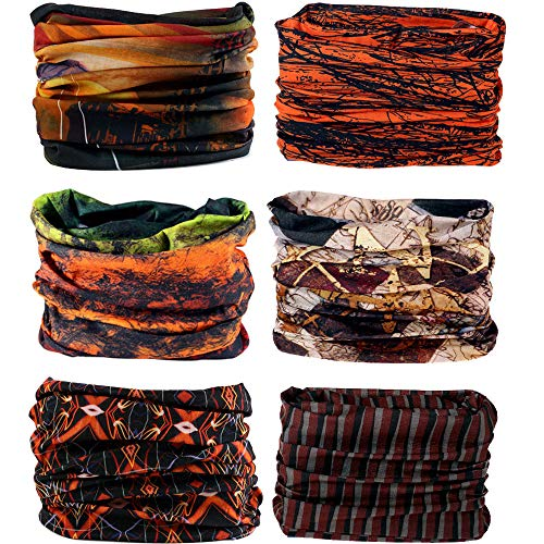 HCHYFZ 6PCS 12PCS Outdoor Magic Headband Elastic Seamless Bandana Scarf UV Resistence Sport Headwear Head Wrap Sweatband (6PCS.Brown)