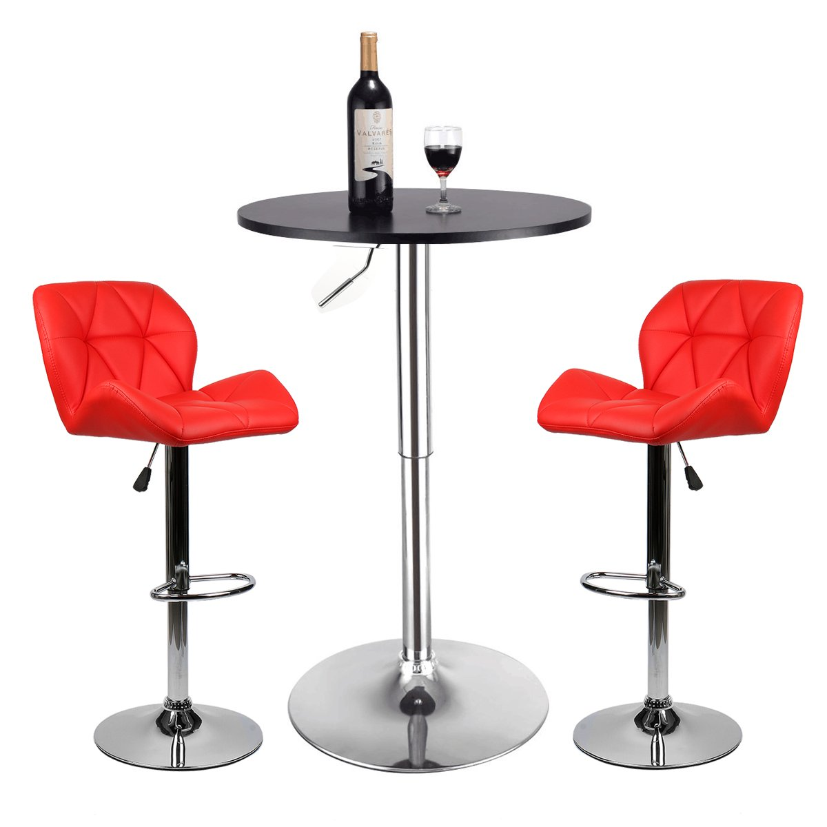 Pub Table Set 3 Piece - 24 inch Round Table with 2 Leatherette Chairs - Height Adjustable (Red Barstools + Black Pub Table)